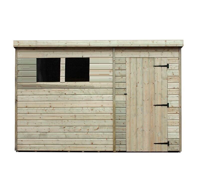9x6 garden shed shiplap pent tanalised windows pressure treated door right - Garden Sheds 9x6