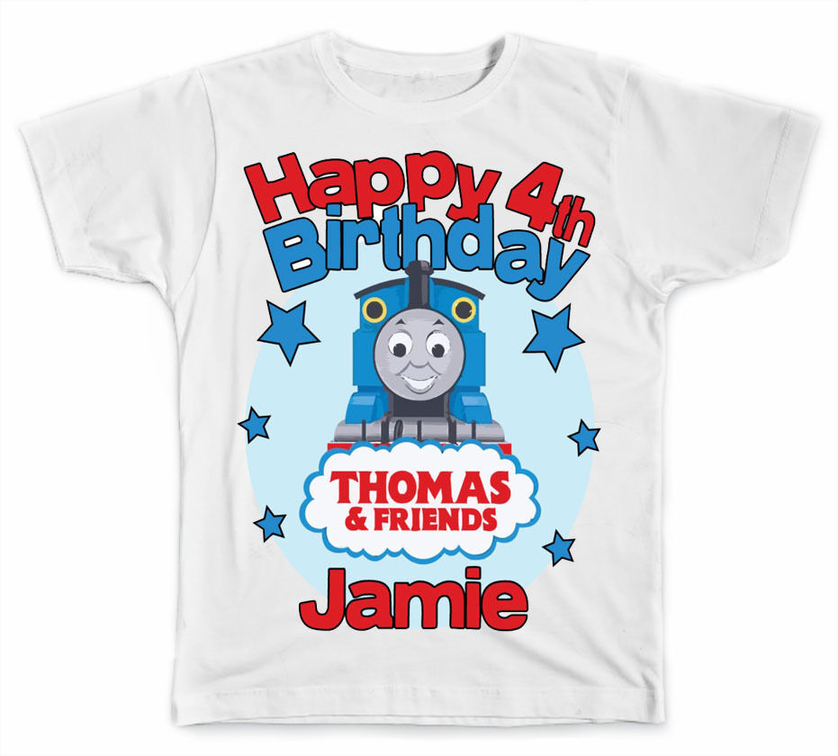 Personalized thomas the train birthday t shirt ebay for Make personalized t shirts
