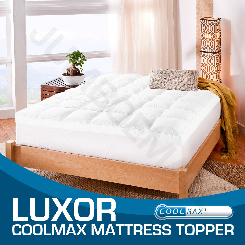 all size 1000gsm luxury coolmax fabric pillowtop mattress topper protector ebay. Black Bedroom Furniture Sets. Home Design Ideas