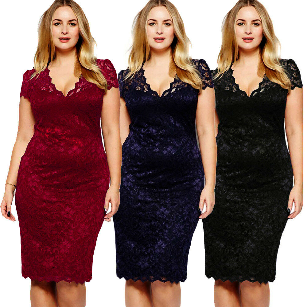 f49c0d39e27 Details about Plus Size Summer Formal Party Wear Short Sleeve V Neck Midi  Lace Casual Dress