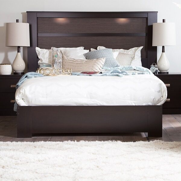 King Size Headboard With Lights Lighted Bed Bedroom Dark