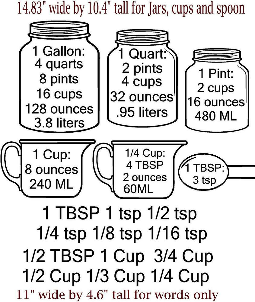 measuring cup conversion decals for cupboards cup tsp tbsp ml liters gallons ebay. Black Bedroom Furniture Sets. Home Design Ideas