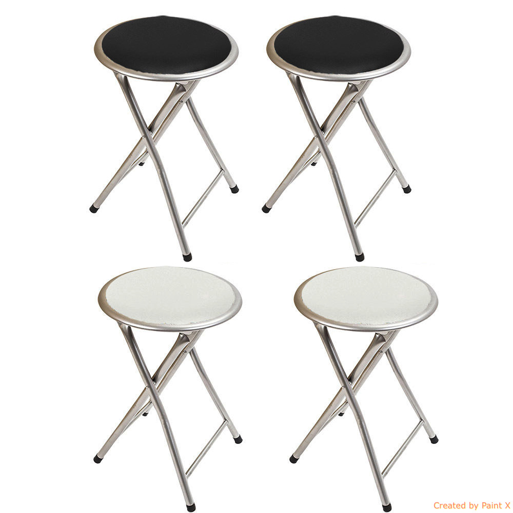 folding bar stool chair kitchen breakfast soft seat black white ebay
