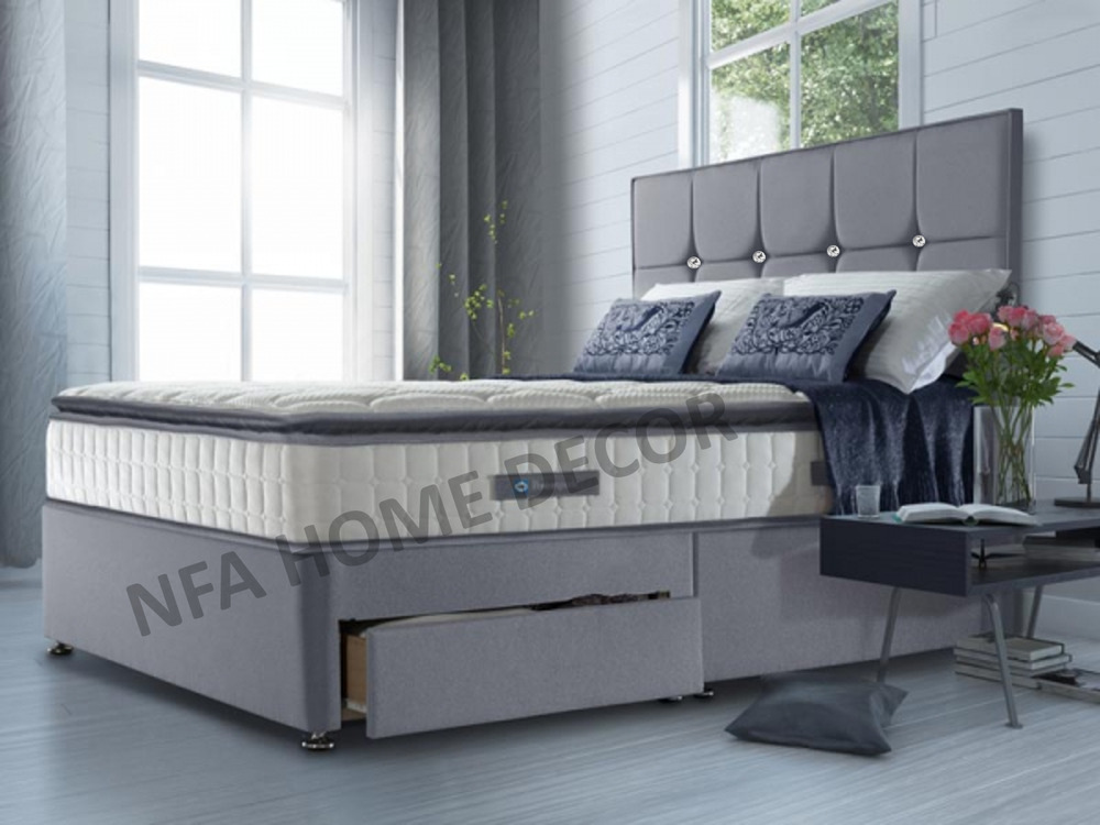 Fabric divan bed base with underbed storage 3ft single for Double divan bed with slide storage