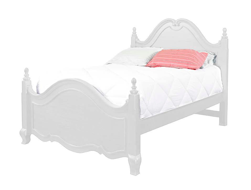 Angellina White Finish Solid Wood Queen Size Bed