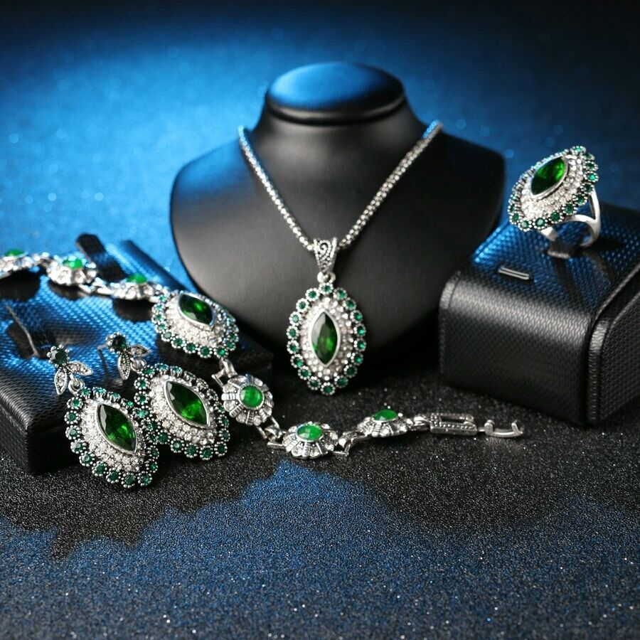 Hurrem Style Ancient Silver Plated Emerald Resin Womens 4 Pc Fashion Jewelry Set Ebay
