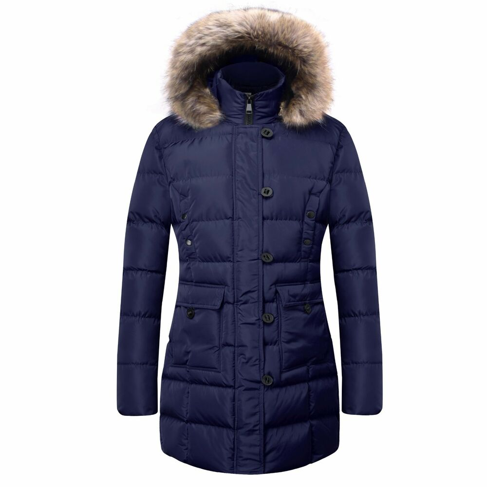 Ladies Quilted Winter Cargo Coat Puffer Padded Women