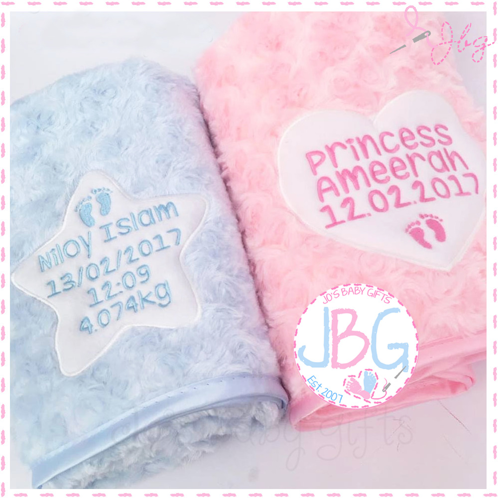 Personalised Baby Blanket, Luxury Embroidered Gift, Fluffy ...