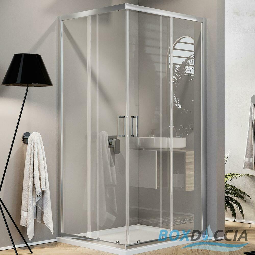 Shower Enclosure Corner Entry Cubicle Glass Sliding Screen