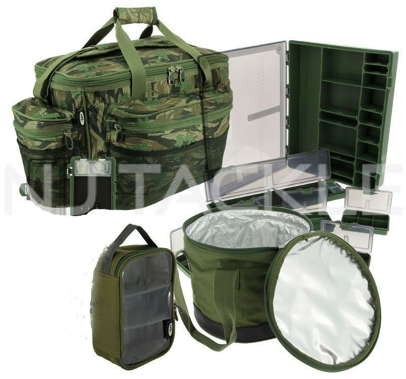 Ngt fishing camo luggage set carryall rig wallet lead bag for Rigged fishing backpack