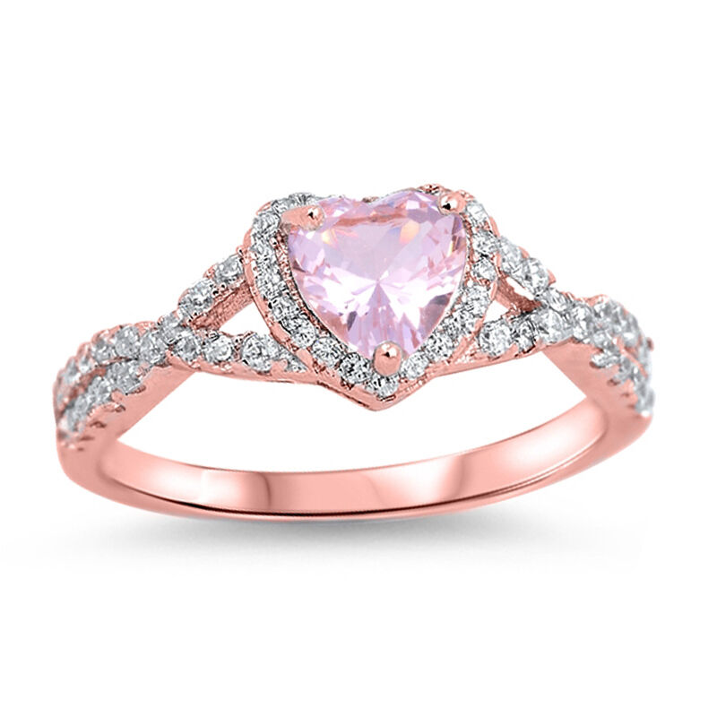 Rose Gold Heart Pink Morganite Clear CZ Promise Engagement Sterling Silver Ri