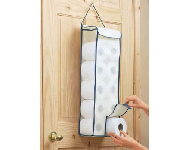 Hanging toilet roll fabric organiser bathroom store for Loo roll storage