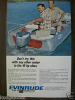 1967 EVINRUDE OUTBOARD MOTOR BOATING AD,TWO MEN FISHING