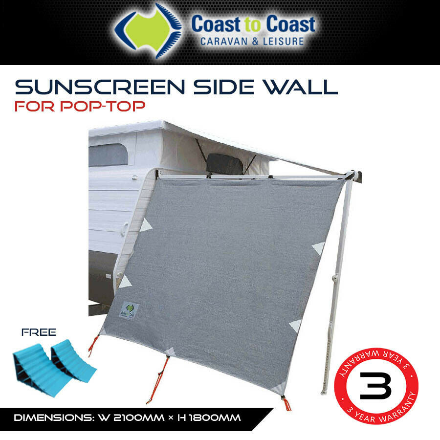 Pop Out Screen : Pop top privacy screen end wall side to suit caravan roll