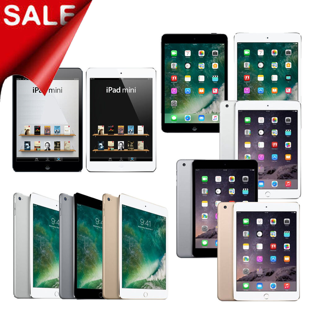 new apple ipad mini 1 2 3 or 4 16gb 32gb 64gb 128gb computer wi fi tablet ebay. Black Bedroom Furniture Sets. Home Design Ideas