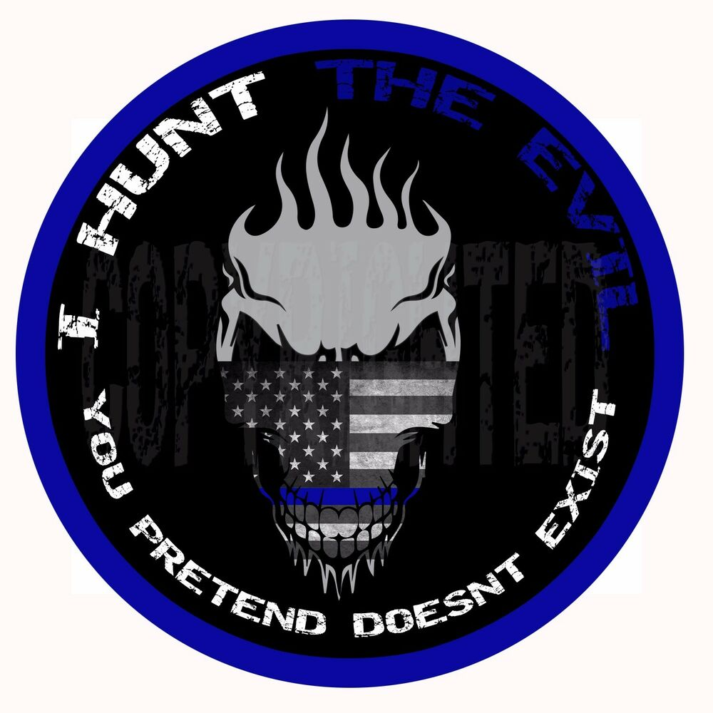 2 3 8 I Hunt The Evil Decal Sticker Bumper Skull Thin Blue