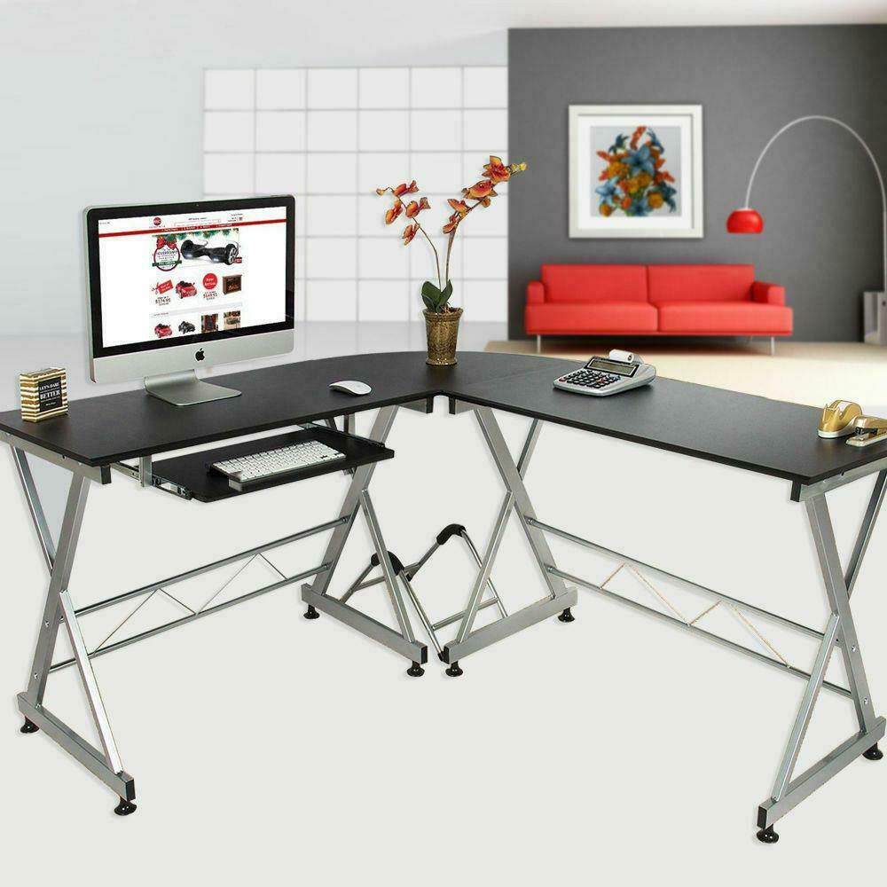 l shape corner computer desk laptop pc table wood. Black Bedroom Furniture Sets. Home Design Ideas