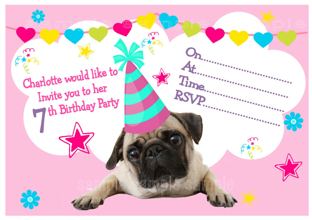 Personalised PUG Birthday Party Invitations or THANK YOU ...