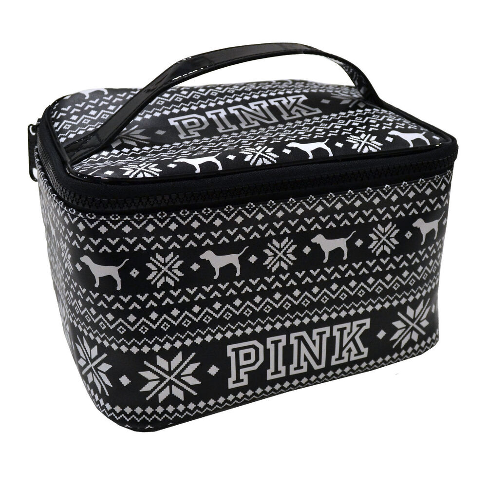 Nwt Victoria S Secret Pink Nordic Black Travel Makeup Bag