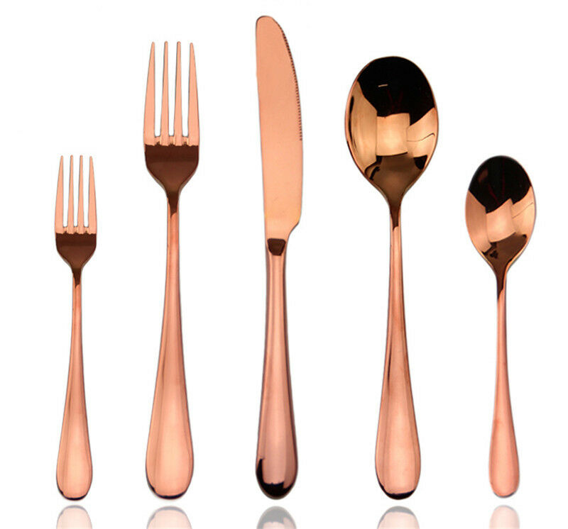 rose gold plated flatware cutlery stainless steel dinnerware 5pcs set for 4 6 10 ebay. Black Bedroom Furniture Sets. Home Design Ideas