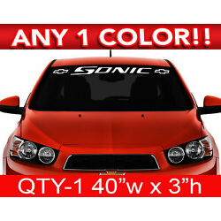 CHEVY  '' SONIC '' w / BOWs WINDSHIELD DECAL 40'' x 3'' ANY 1 COLOR