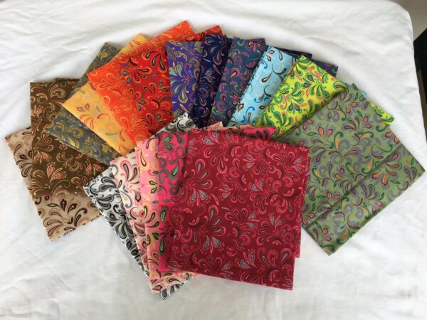 Beautiful Rainbow of 17 Fat Quarters - Quilter's Happy Place