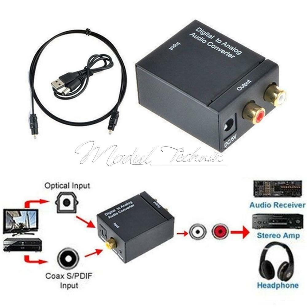 optical coaxial toslink digital to analog audio converter adapter rca l r ebay. Black Bedroom Furniture Sets. Home Design Ideas