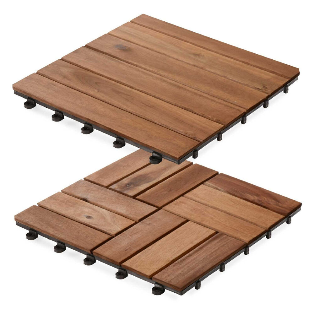 Acacia wood decking tiles interlocking wooden garden patio for Hardwood decking planks