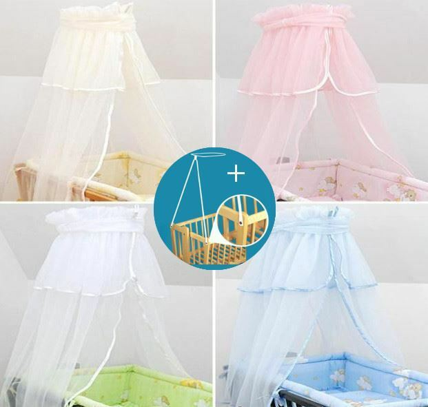 CROWN CANOPY / DRAPE / MOSQUITO NET + HOLDER TO FIT CRIB / CRADLE / MOSES BASKET | eBay  sc 1 st  eBay & CROWN CANOPY / DRAPE / MOSQUITO NET + HOLDER TO FIT CRIB / CRADLE ...