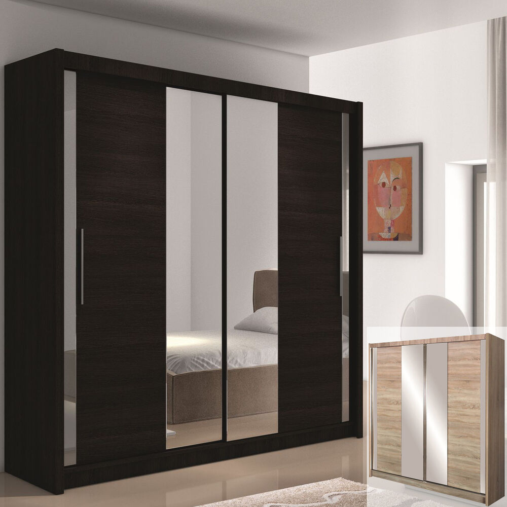 kleiderschrank lizbona mit spiegel und schiebet ren. Black Bedroom Furniture Sets. Home Design Ideas