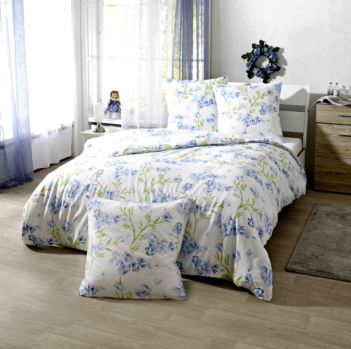 bettw sche bettgarnitur 200x200 65x65 baumwolle weiss blau blumen franz sisch 2 ebay. Black Bedroom Furniture Sets. Home Design Ideas