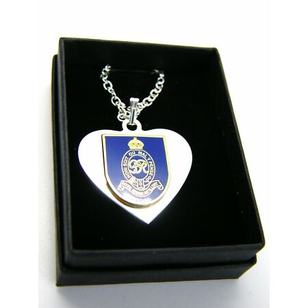 img-THE ROYAL HORSE ARTILLERY BADGE HEART PENDANT & CHAIN MILITARY GIFT IN BOX