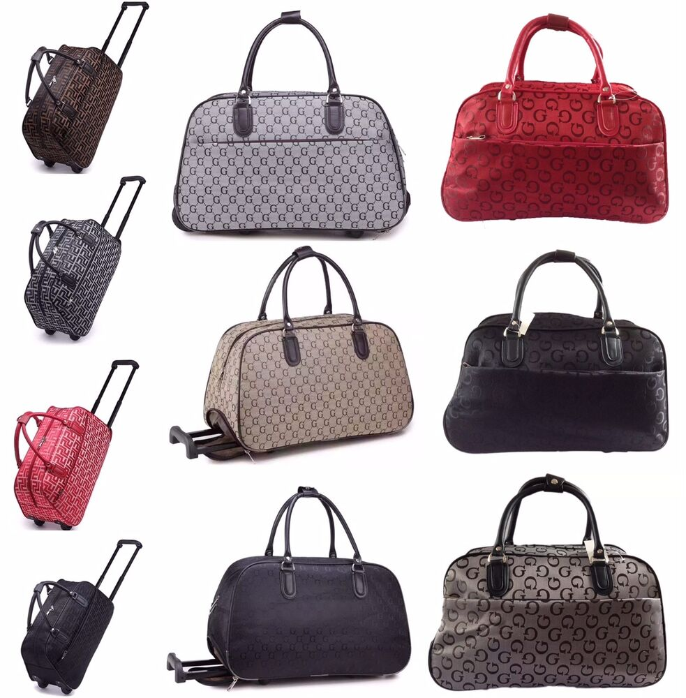 femmes sac cabas weekend bagage main avec roues flight valise sac de cabine ebay. Black Bedroom Furniture Sets. Home Design Ideas