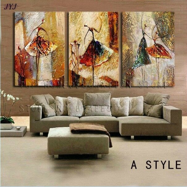 Hand painted modern abstract canvas oil painting wall art for Modern wall paintings living room