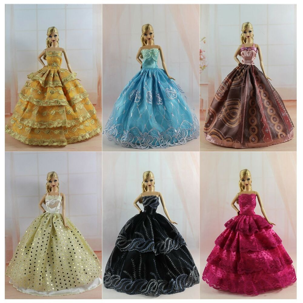 Sale 6 pcs fashion handmade wedding party clothes dress for Barbie wedding dresses for sale