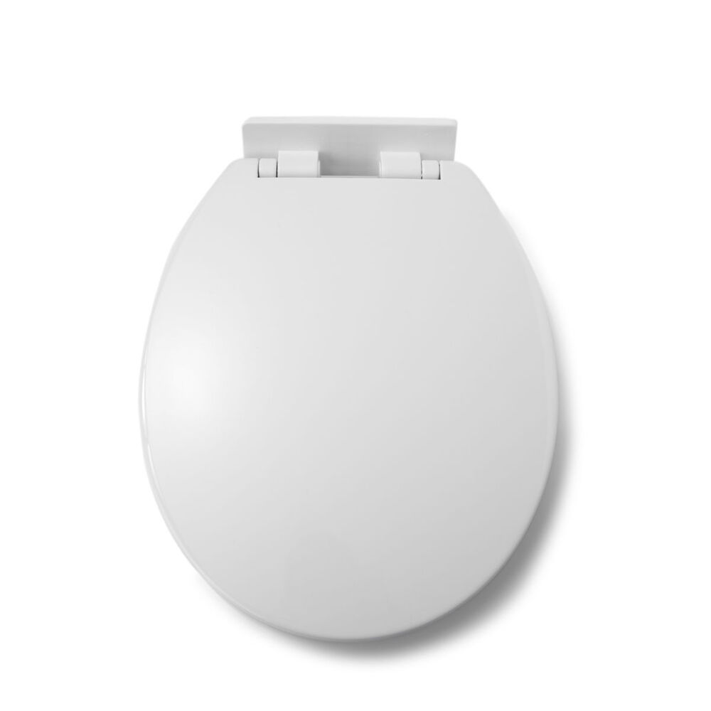 New white plastic toilet wc bathroom seat thermoplastic Top view of bathroom