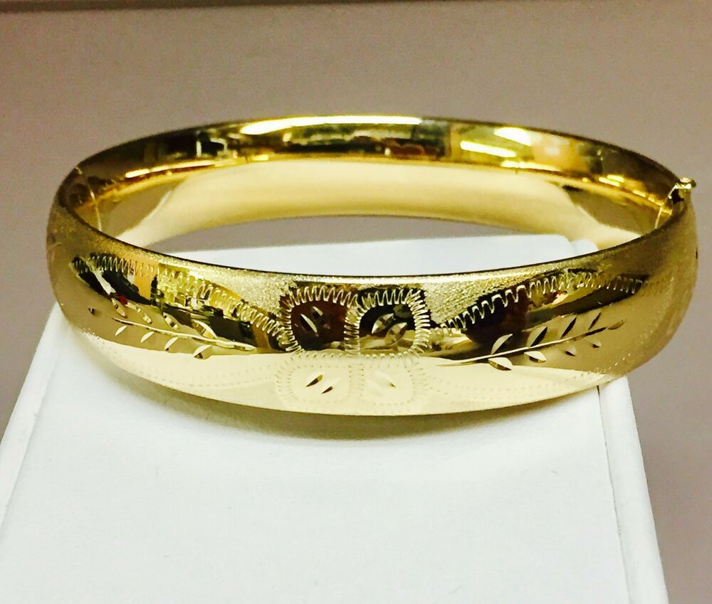 14k Yellow Gold Florentine Etched Hinged Bangle Bracelet 8