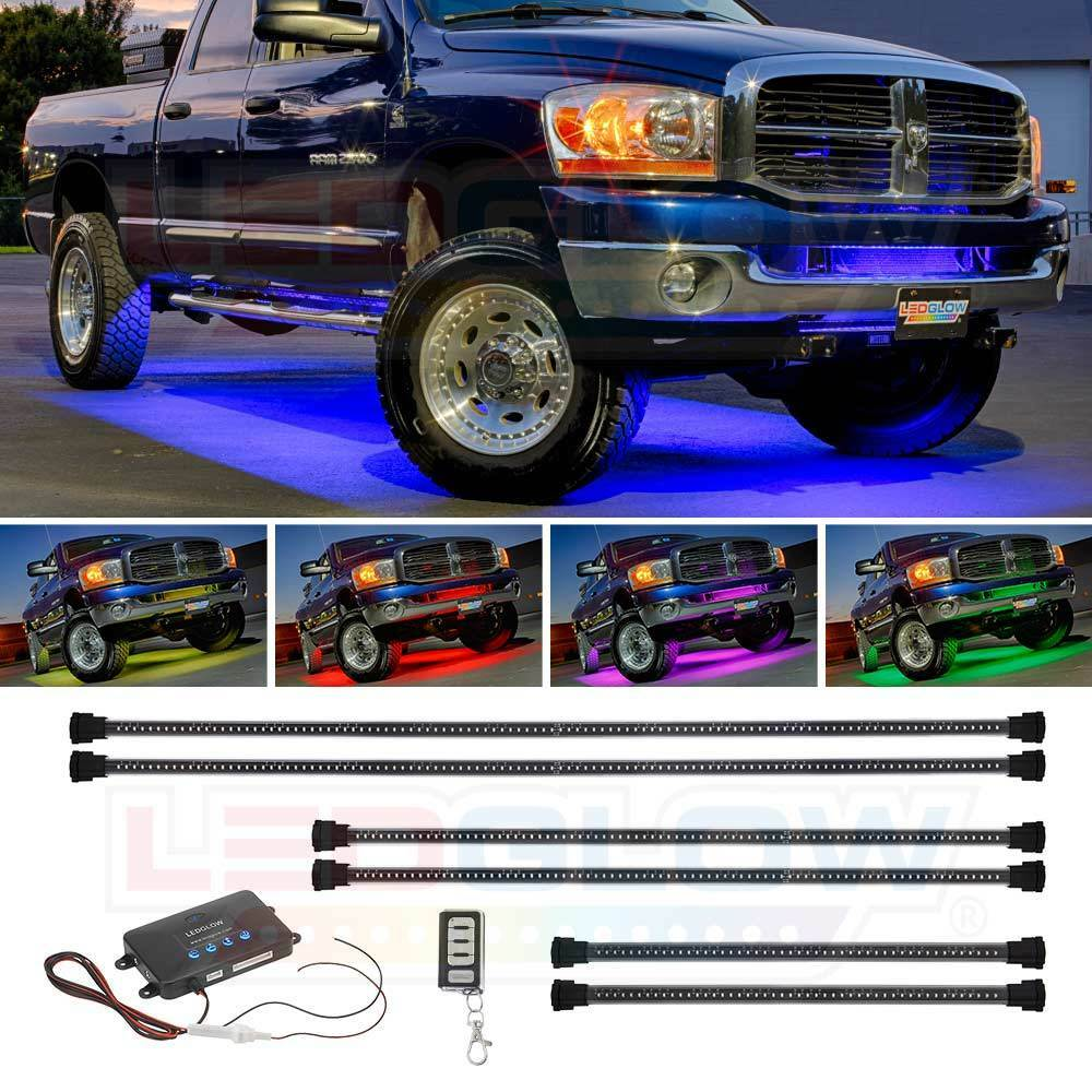 6pc Car Interior Neon Underglow Accent Light Kit: LEDGlow 6pc Million Color Wireless SMD LED Truck Underbody