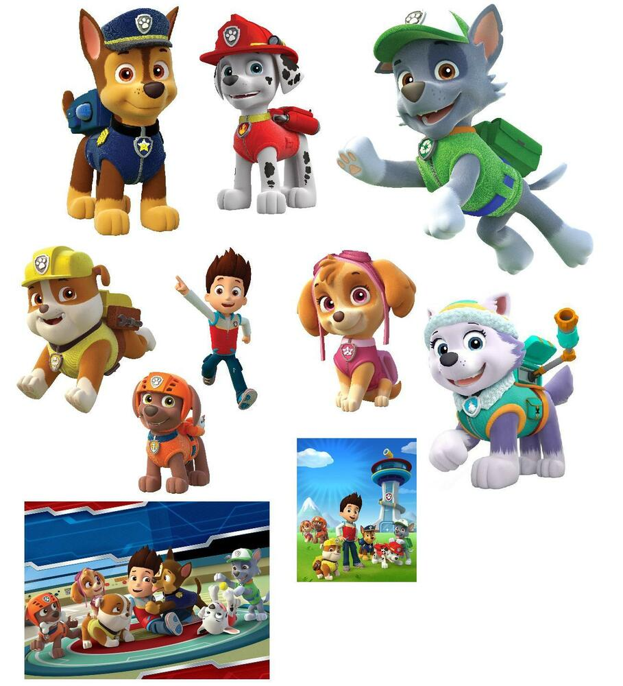 10 paw patrol photo paper wall stickers 3 sizes a6 a5 a4. Black Bedroom Furniture Sets. Home Design Ideas