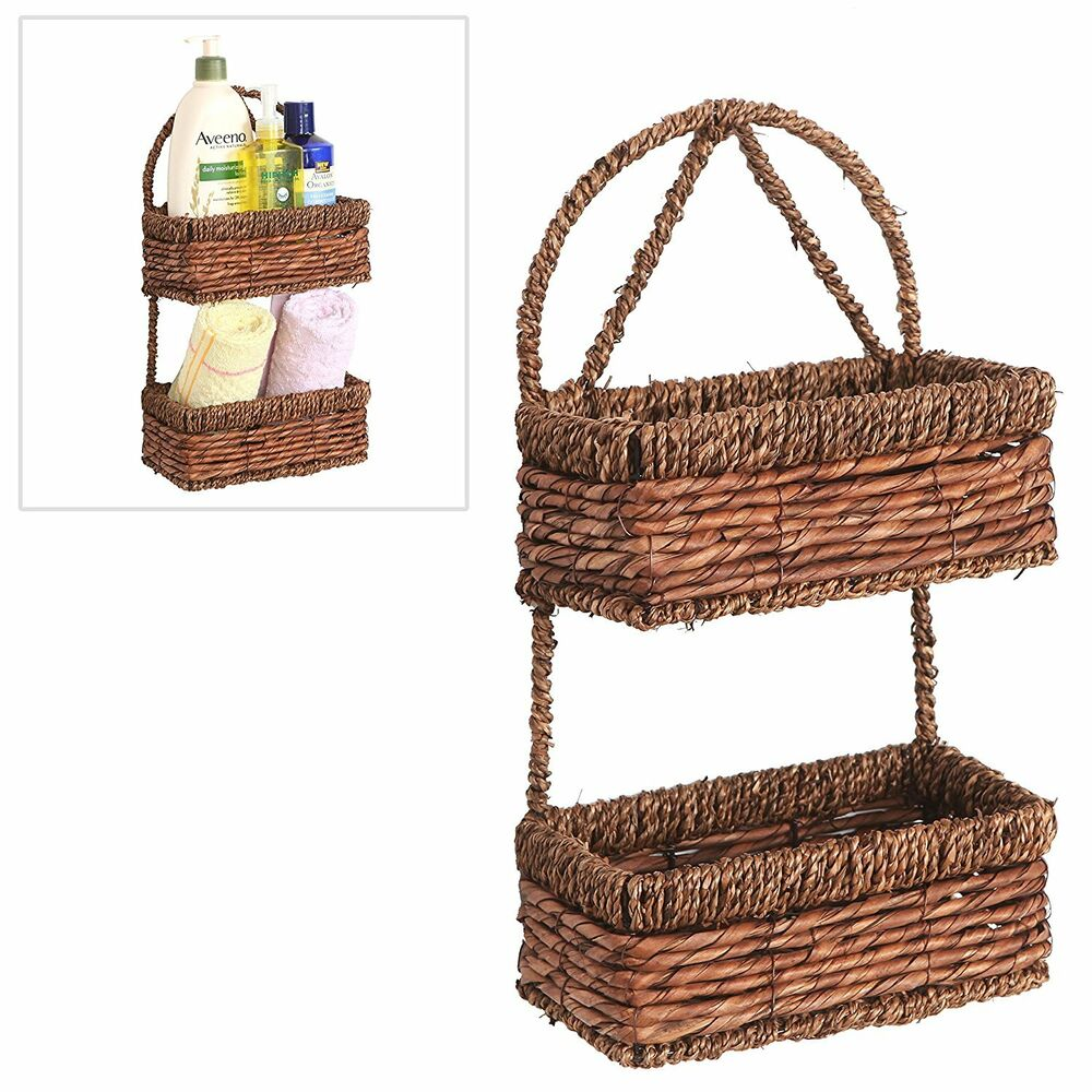 Seagrass Storage Baskets: 2 Tier Brown Woven Seagrass Wall Hanging Organization