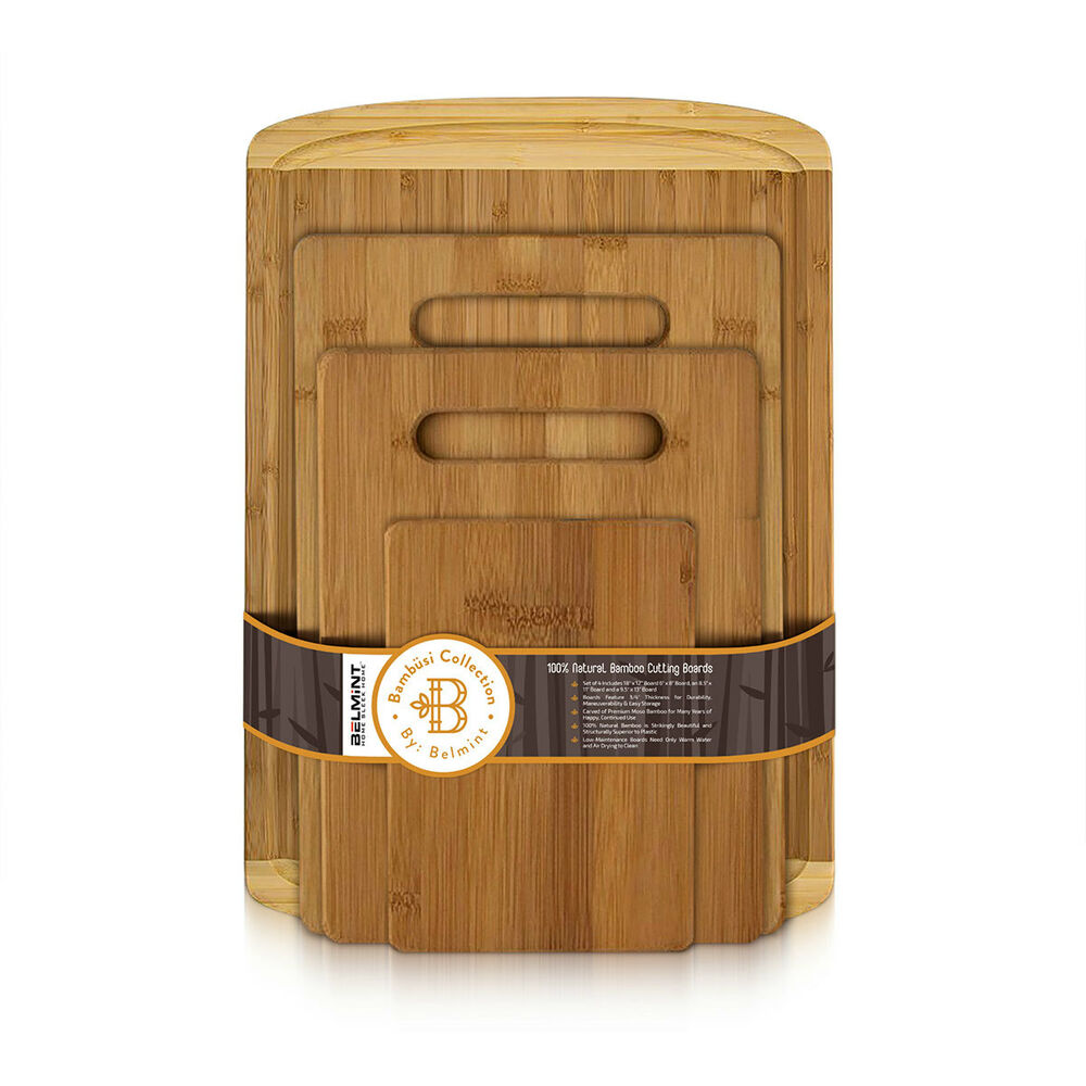 set of 4 bamboo cutting board 1 extra large with juice groove 3 piece set 19962865466 ebay. Black Bedroom Furniture Sets. Home Design Ideas