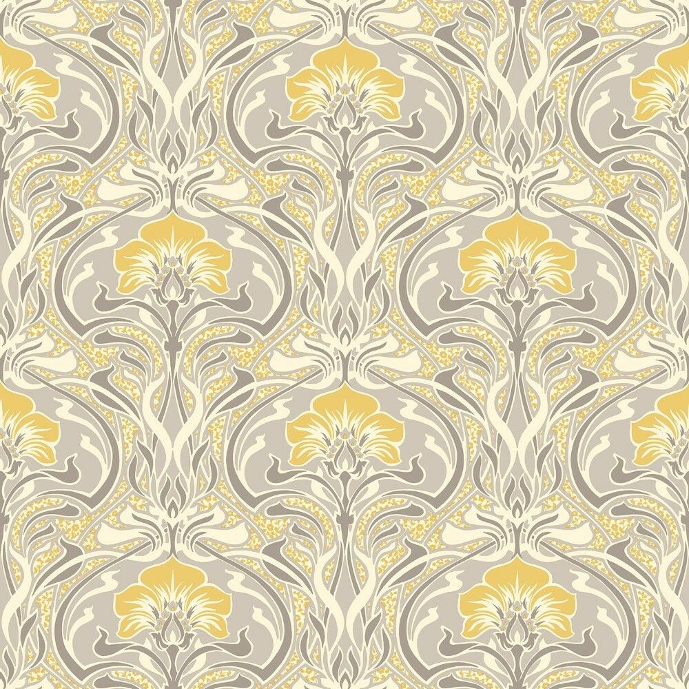 Grey and Yellow Retro Floral Wallpaper Art Deco Flora ...