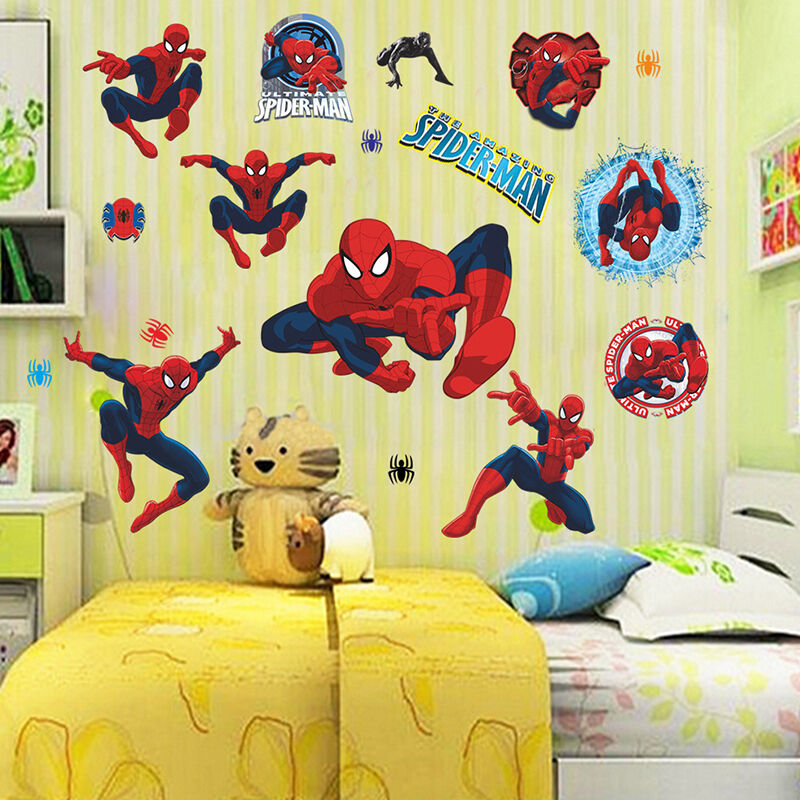 Removable cartoon 3d spider man kids room decor wall - Stickers para decorar paredes ...
