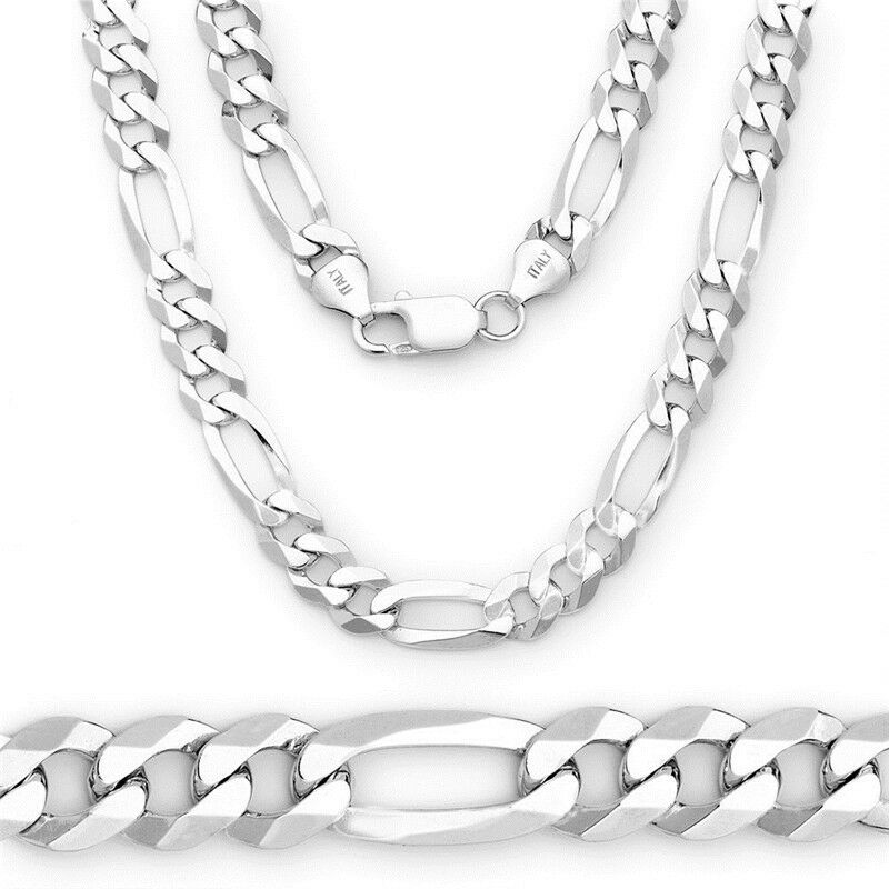cool silver chain men italy figaro link necklace 30 inch. Black Bedroom Furniture Sets. Home Design Ideas