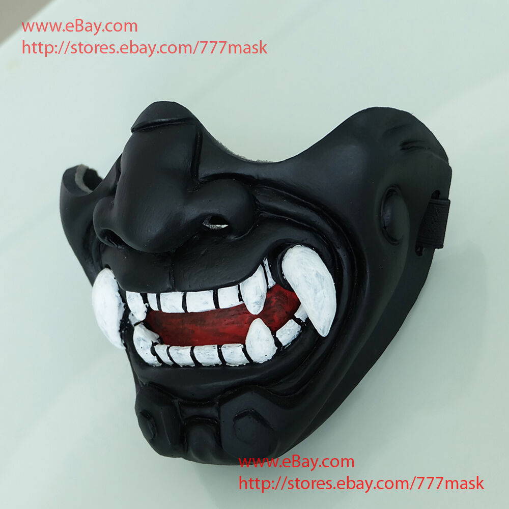 Gift half cover airsoft costume demon samurai kabuki oni for Kabuki mask template