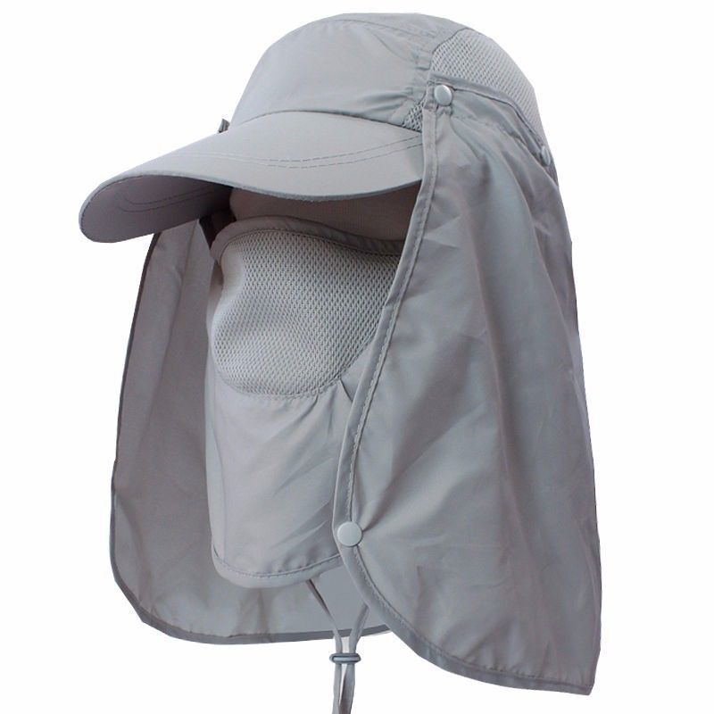Mens womens outdoor face neck flap sun protection anti uv for Womens fishing hat