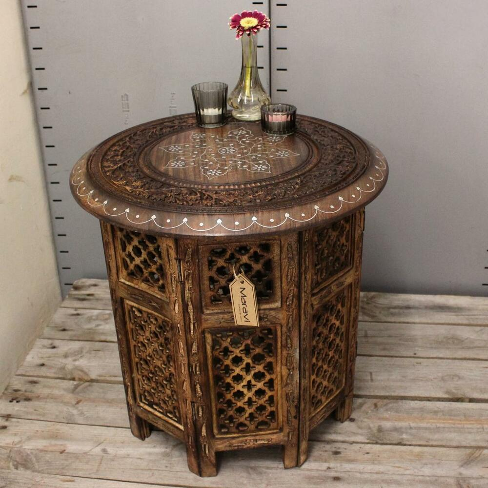 Large Side Table With Aluminium Inlay Indian Mango Wood