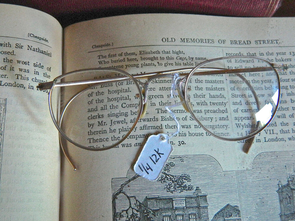 958e044019c Details about RARE Antique MO-RO 12k Gold Filled Etched Wire Eyeglasses  Original Case