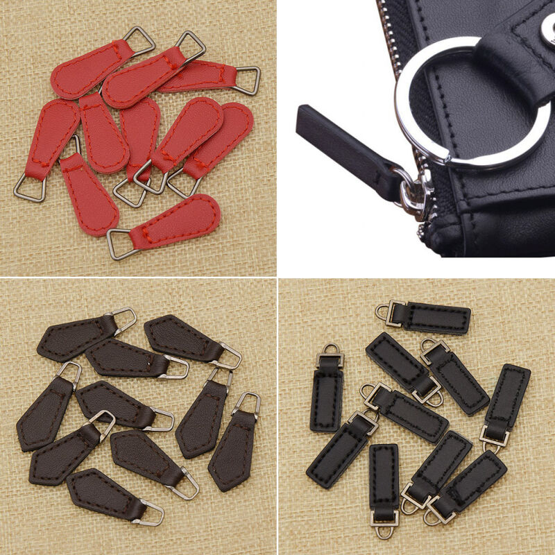 10 Pcs PU Leather Zipper Tags Fixer Pull Tab Replacement ...