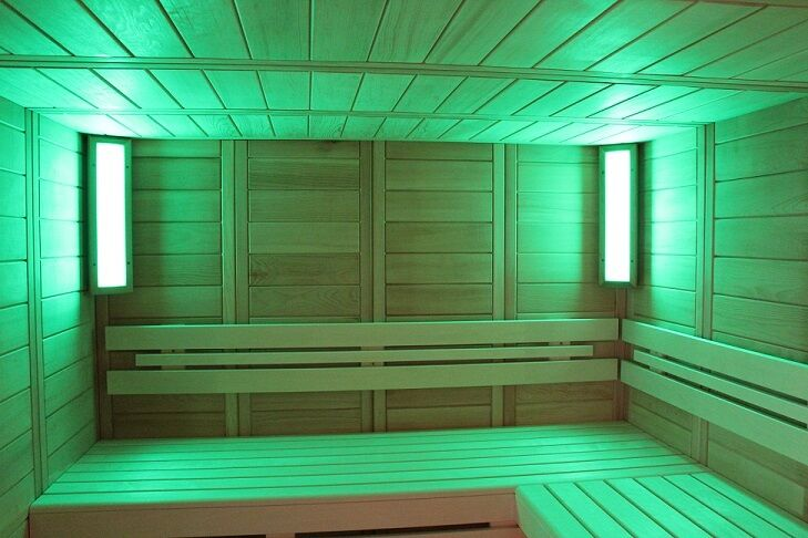 led farblicht beleuchtung rgb f r sauna und infrarotkabinen lumina s hell abachi ebay. Black Bedroom Furniture Sets. Home Design Ideas